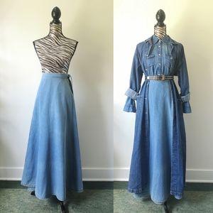 Vintage Maxi denim true wrap skirt